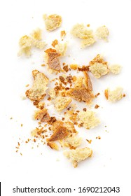 Bread crumbs isolated on white background.  Top view