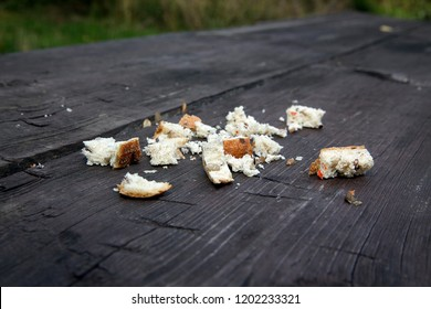 Bread crumbs on old wooden table