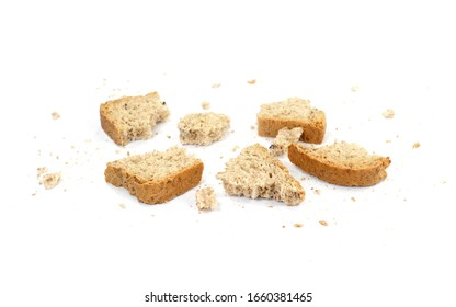 Bread crumbs, wholemeal bread isolated on a white background. leftover bread.