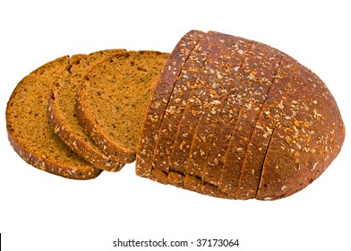 Bread cut by chunks isolated on a white background