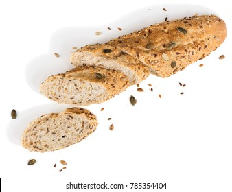 Bread with different seeds ( pumpkin,  poppy, flax, sunflower, sesame) isolated on white background.