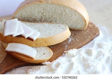 Bread, eggs, dough, flour, vegetable oil