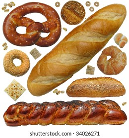 Bread, etc. A fun collection of bakery breads and cereal, rolls, bagel, croissant, cracker pretzel, oats