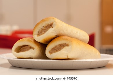 Bread filled with a sausage