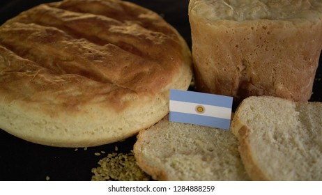 Bread with flag of Argentina. World wheat import export trade