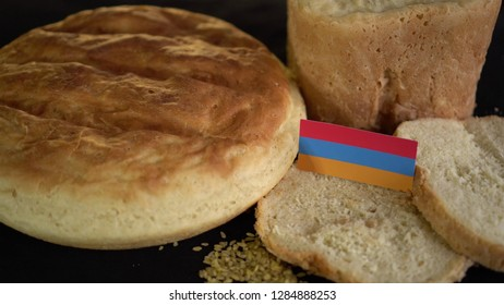 Bread with flag of Armenia. World wheat import export trade