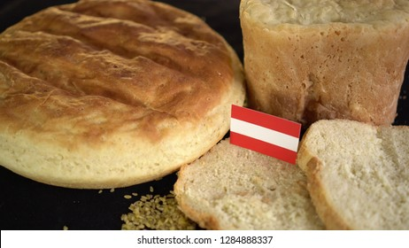 Bread with flag of Austria. World wheat import export trade