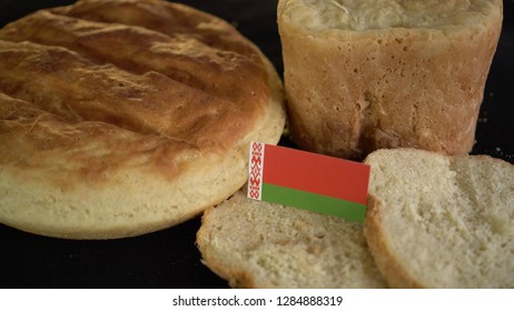 Bread with flag of Belarus. World wheat import export trade