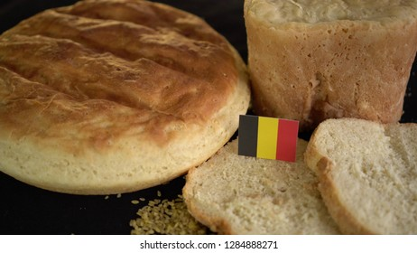 Bread with flag of Belgium. World wheat import export trade