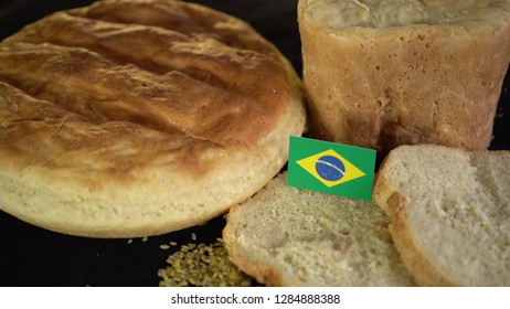 Bread with flag of Brazil. World wheat import export trade
