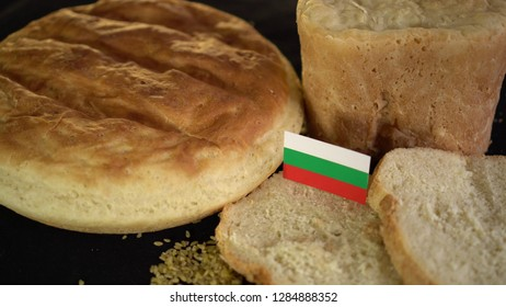 Bread with flag of Bulgaria. World wheat import export trade