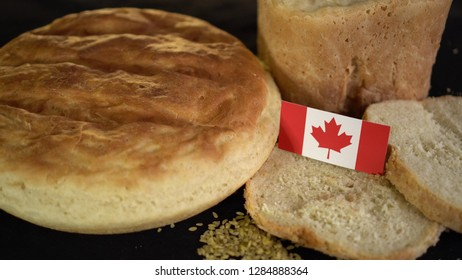 Bread with flag of Canada. World wheat import export trade