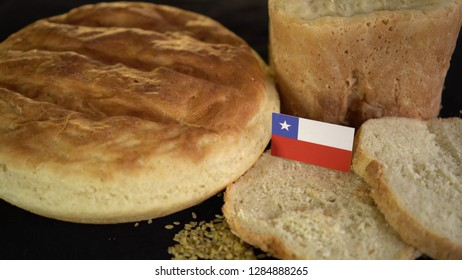 Bread with flag of Chile. World wheat import export trade