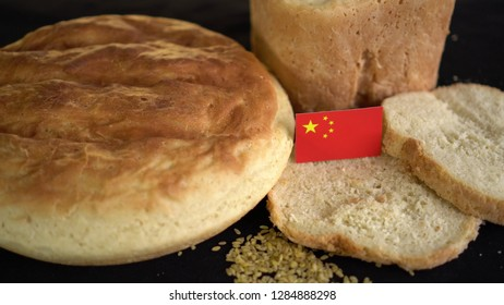 Bread with flag of China. World wheat import export trade