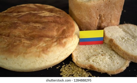 Bread with flag of Colombia. World wheat import export trade