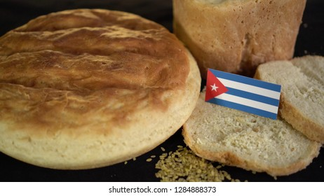 Bread with flag of Cuba. World wheat import export trade