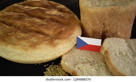 Bread with flag of Czech Republic. World wheat import export trade