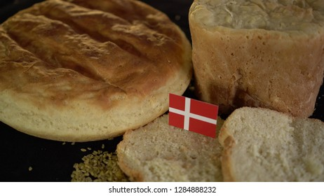 Bread with flag of Denmark. World wheat import export trade