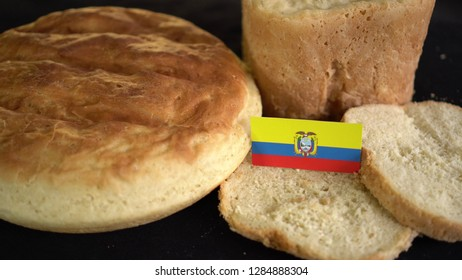 Bread with flag of Ecuador. World wheat import export trade