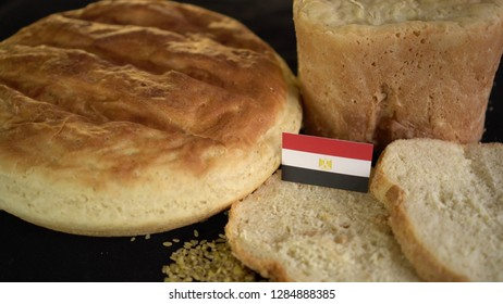Bread with flag of Egypt. World wheat import export trade