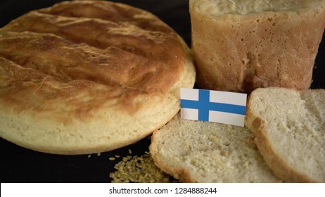 Bread with flag of Finland. World wheat import export trade
