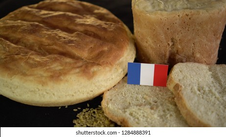 Bread with flag of France. World wheat import export trade