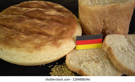 Bread with flag of Germany. World wheat import export trade