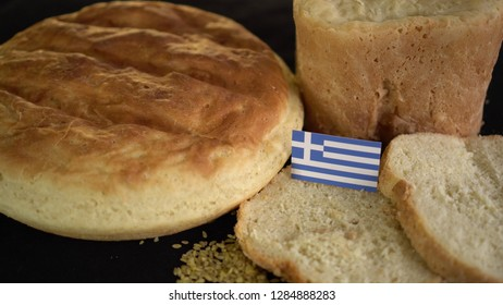 Bread with flag of Greece. World wheat import export trade