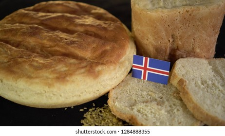 Bread with flag of Iceland. World wheat import export trade