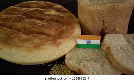 Bread with flag of India. World wheat import export trade