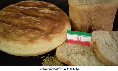 Bread with flag of Iran. World wheat import export trade