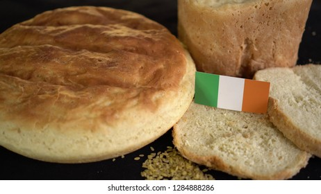 Bread with flag of Ireland. World wheat import export trade