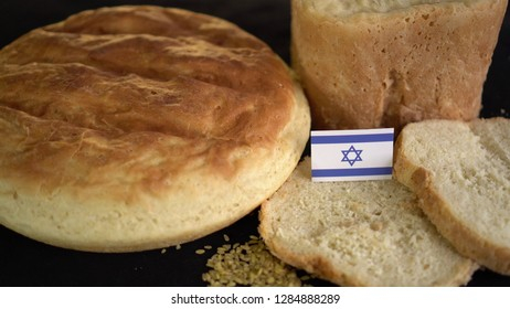 Bread with flag of Israel. World wheat import export trade