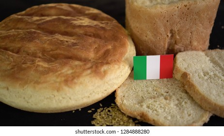 Bread with flag of Italy. World wheat import export trade