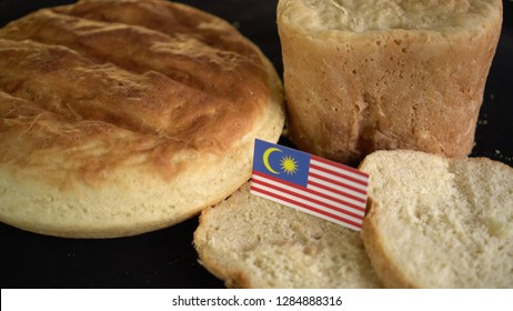Bread with flag of Malaysia. World wheat import export trade