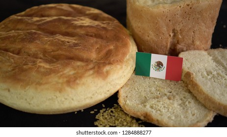 Bread with flag of Mexico. World wheat import export trade