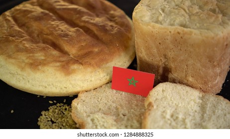 Bread with flag of Morocco. World wheat import export trade
