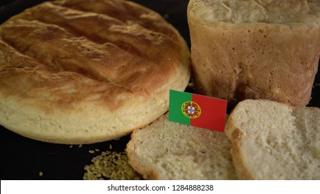 Bread with flag of Portugal. World wheat import export trade