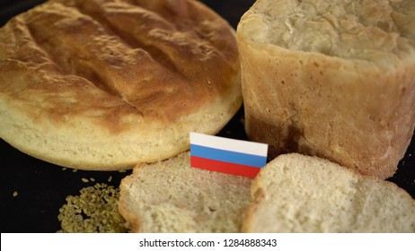 Bread with flag of Russia. World wheat import export trade