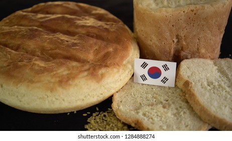 Bread with flag of South Korea. World wheat import export trade