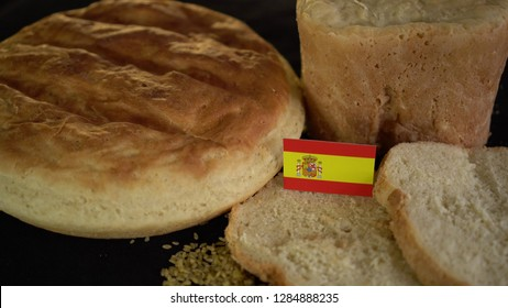 Bread with flag of Spain. World wheat import export trade