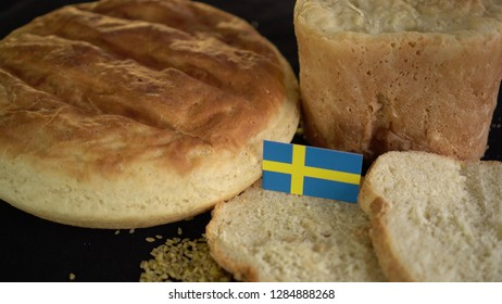 Bread with flag of Sweden. World wheat import export trade