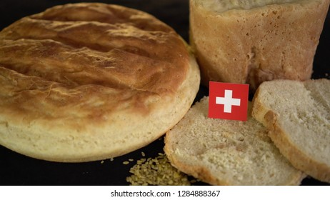 Bread with flag of Switzerland. World wheat import export trade