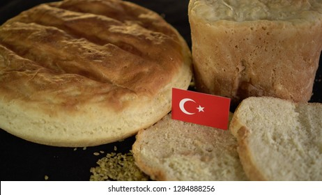 Bread with flag of Turkey. World wheat import export trade