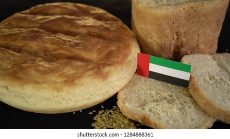 Bread with flag of United Arab Emirates. World wheat import export trade