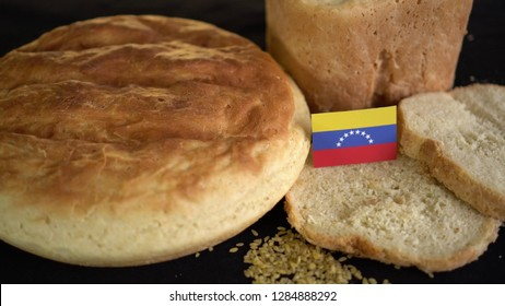 Bread with flag of Venezuela. World wheat import export trade