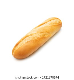 Bread french baguette isolated on white background. Top view