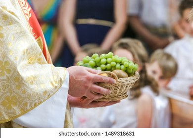 Bread, grapes and ears of wheat as a symbol of Christian Holy Communion in  Catholic Church with a cross symbol.