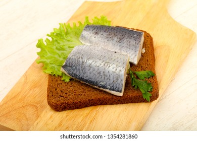 Bread with herring fillet