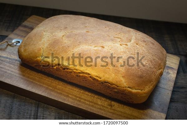 Bread loaf freshly baked, home made.